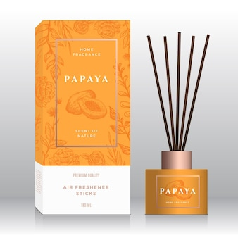 Papaya home fragrance sticks abstract vector label box template hand drawn sketch flowers leaves bac...