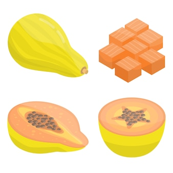 Papaya icons set, isometric style