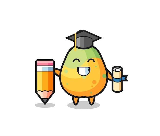 파파야 일러스트레이션 만화는 티셔츠, 스티커, 로고 요소를 위한 귀여운 스타일 디자인, 거대한 연필로 졸업합니다.