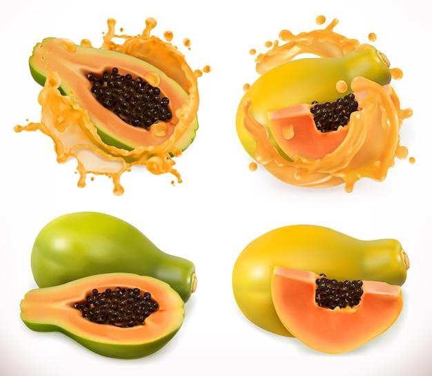 Сок папайи. свежие фрукты, набор 3d векторные иллюстрации