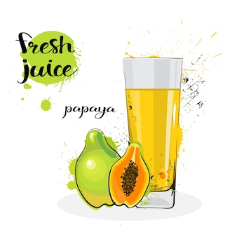Papaya juice fresh hand drawn watercolor fruits and glass on white background