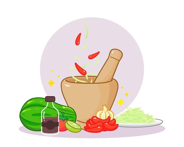 Papaya salad banner logo cartoon art illustration