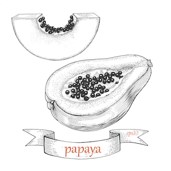 Набор папайи. разрезать пополам. тропический фрукт, изолированные на белом фоне.