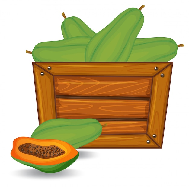 Papaya on wooden banner