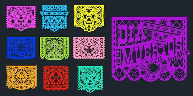Papel picado, 멕시코 종이 및 pecked 깃발,. 멕시코 축제 장식 papel picado 죽은 dia de muertos의 날을위한 전통적인 디자인, 솜브레로의 종이 컷 해골 및 꽃 장식