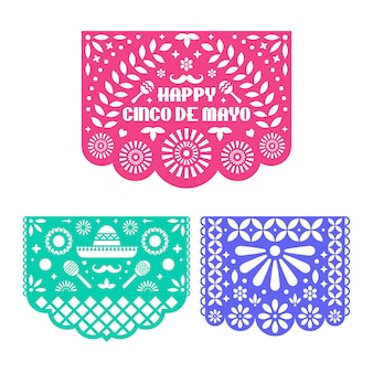 Papel picado set. mexican paper garland. cinco de mayo.