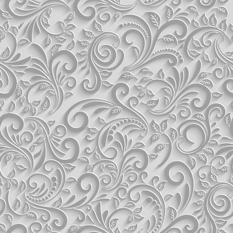 Paper 3d floral seamless pattern, vector paper background