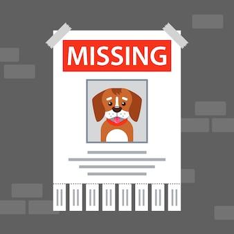 잃어버린 개에 대한 벽에 종이 광고.