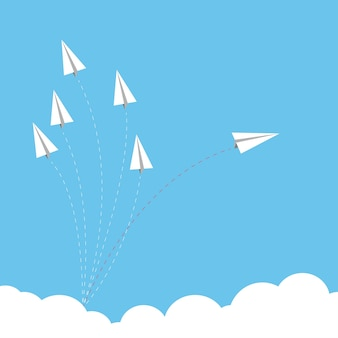 Paper airplane as a leader among another airplane