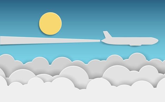 青い空の雲の上を飛んでいる紙飛行機。ベクトルイラスト