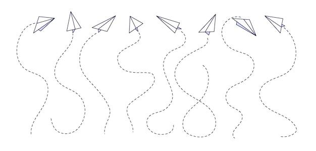 紙飛行機。グラフィックの飛行経路、飛行機の軌跡。孤立した落書き航空旅行ルート