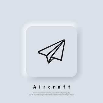 Paper airplane icon. aircraft logo. message icon. vector eps 10. ui icon. neumorphic ui ux white user interface web button. neumorphism