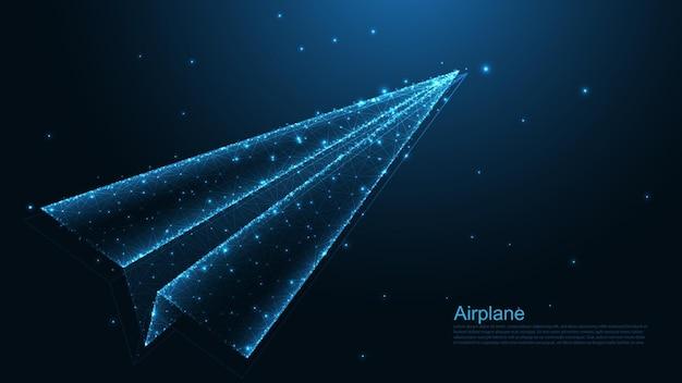 紙飛行機のライン接続。低ポリワイヤーフレームデザイン。抽象的な幾何学的な背景。ベクトルイラスト。