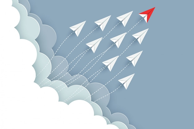 Paper airplane red and white are fly up to the sky. creative idea. illustration vector cartoon
