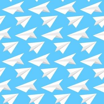 종이 비행기 원활한 패턴 배경.
