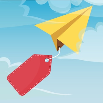 Paper airplane in the sky with a banner