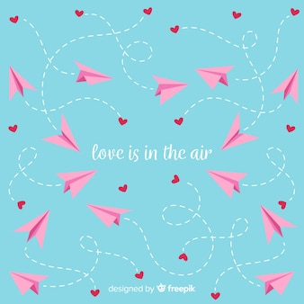 Paper airplane valentine's day background