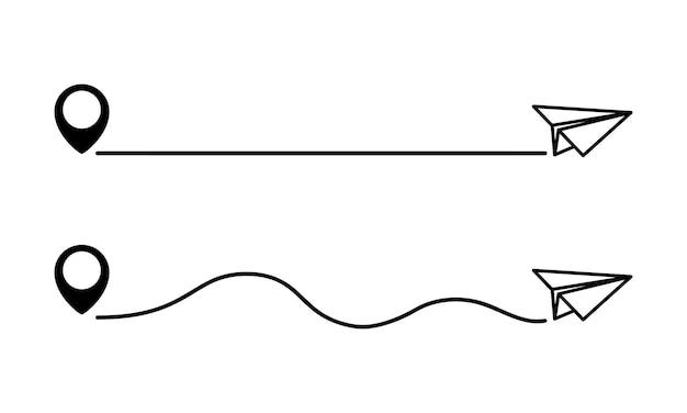 マップピンと点線のパスが付いた紙飛行機。飛行機の経路。旅行と距離の概念。平面とマップピン。旅行ルート。ベクトルイラスト