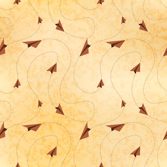 Paper airplanes fly on routes, map on old paper, seamless pattern