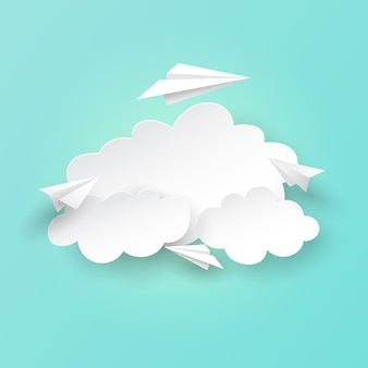 Paper airplanes flying on clouds background.