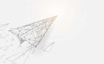 ラインから飛ぶ紙飛行機とパーティクルスタイルのデザイン