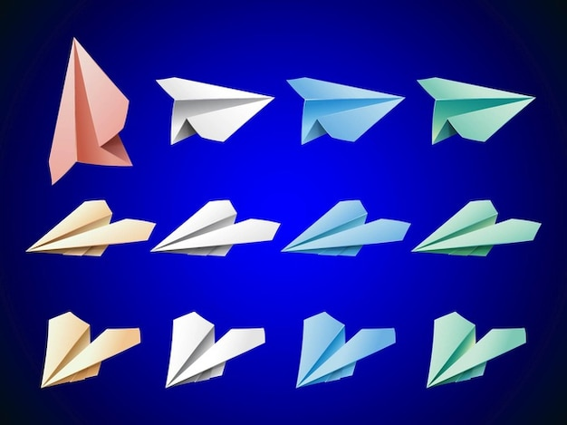 Paper airplanes icon logo vector