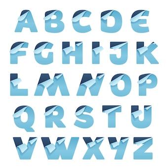折り畳まれた角を持つ紙のアルファベット