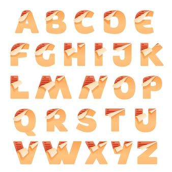 접힌 모서리가있는 종이 알파벳 문자