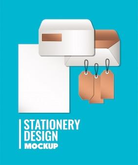 コーポレート・アイデンティティと文房具のデザインテーマベクトル図の青色の背景に設定された紙とモックアップ