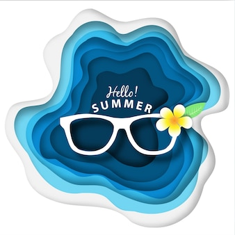 Paper art abstract summer background