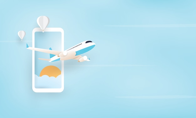 Paper art of airplane flying from mobile phone, holiday concept