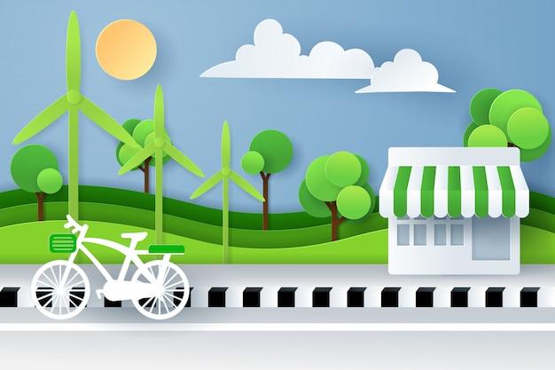 Бумажное искусство и цифровой стиль ремесла ландшафта природы с велосипедом, ночных магазинов и зеленого леса eco, концепции города зеленого eco дружелюбной.