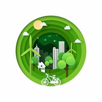 自転車、家、風車、鳥、緑のエコフォレスト、緑のエコフレンドリーな都市の概念と自然風景のペーパーアートとデジタルクラフトスタイル。