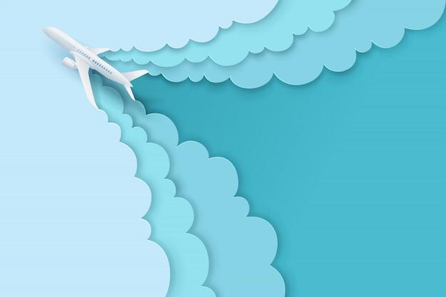 종이 예술과 풍경, 여행 및 비행기를위한 디지털 공예 스타일이 구름과 함께 하늘을 날고 있습니다.