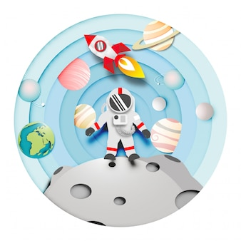 Paper art of astronaut on the moon and rocket or spaceship in solar system background vect