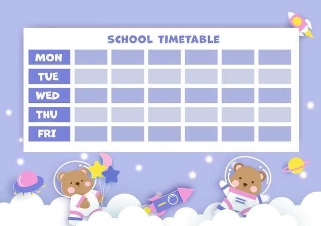 Paper art  back to school timetable.