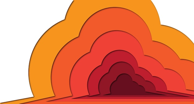オレンジ色のグラデーションでペーパーアートの背景