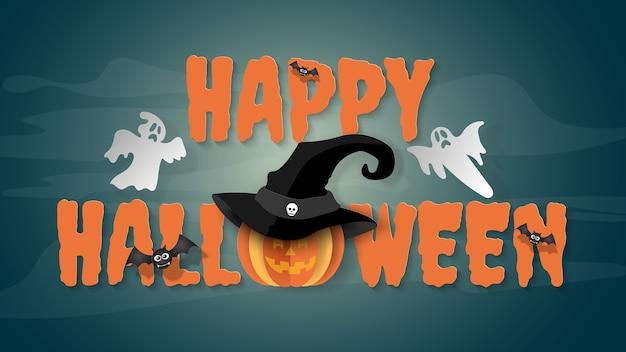 Paper art background of word 'happy halloween'