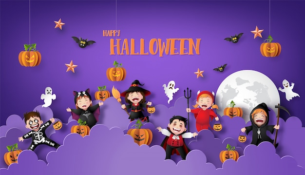 Paper art banner of happy halloween