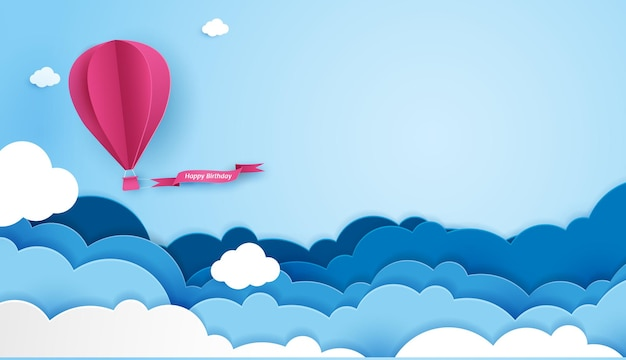 Paper art of birthday with balloon and cloud in the sky can be used for wallpaper invitation