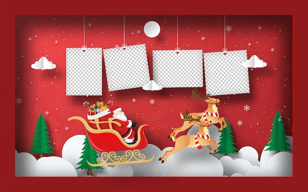 Paper art of blank photo with santa claus on a sleigh in frame