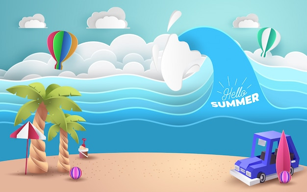 Paper art of blue car park at beach with welcome summer text, origami and travel concept,