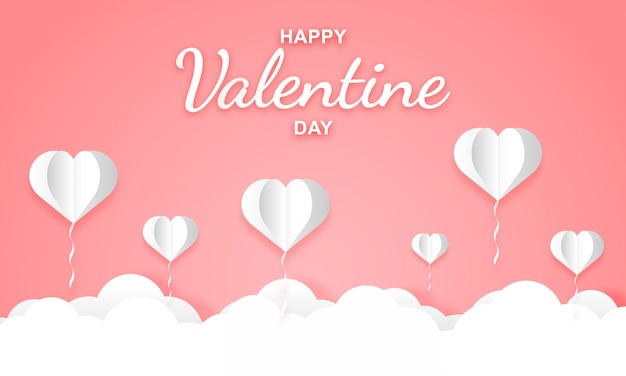 Paper art of bright pink skies with heart shaped balloons for valentine's day