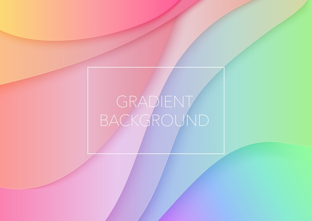 Paper art cartoon abstract waves. trendy gradient color curves background. 3d volumetric paper paper cuted layers