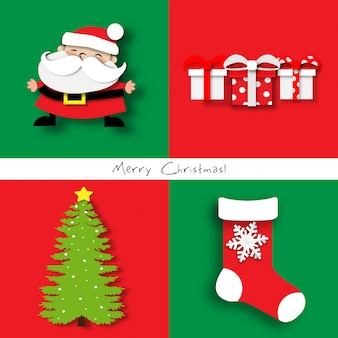 Paper art of christmas card set with santa claus, christmas tree, christmas sock and gift