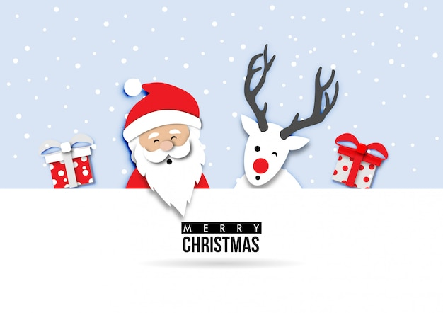 Paper art of christmas card with santa claus