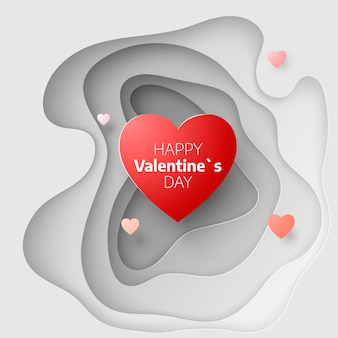 Бумажная художественная концепция дня святого валентина. обложка поздравительной открытки 14 февраля. люблю романтические сообщения с сердечками. сердца на абстрактном фоне любви. вырежьте бумажный баннер с сердцем. иллюстрация
