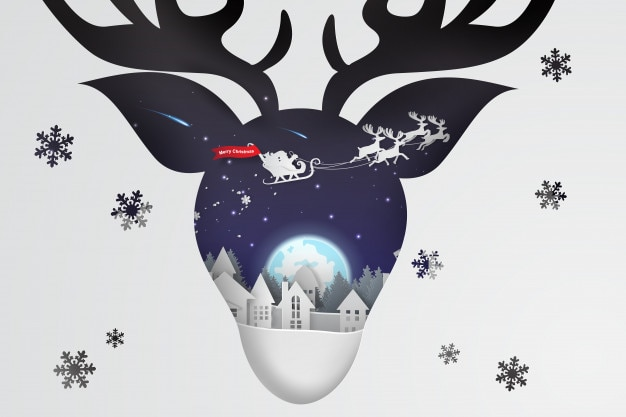 Paper art and craft of christmas with reindeer concept