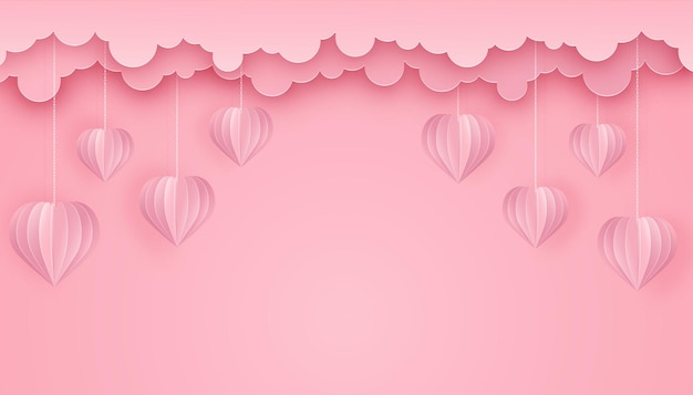 Paper art and craft style background with hearts and clouds