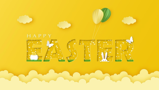 Paper art and craft style banner happy easter on yellow background